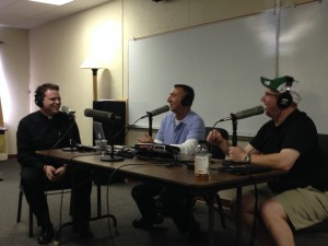 "Live recording of ""The Catholic Guy Show"" with Lino Rulli, center, with Fr Rob, right, and Michael, left."