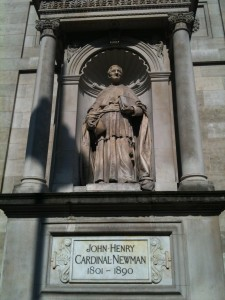 Statue of Blessed Newman outside tht Brompton Oratory