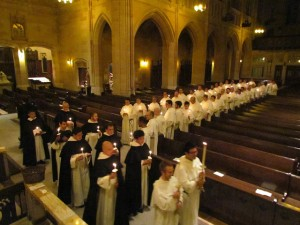 Vestition, a liturgy in which a person receives the Habit of the Order, takes place during Compline.  Here is the Compline Salve Procession from 2 years ago.