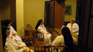 Tara (right) in the parlor with some of the Dominican Nuns (Waaaay before her entrance day)